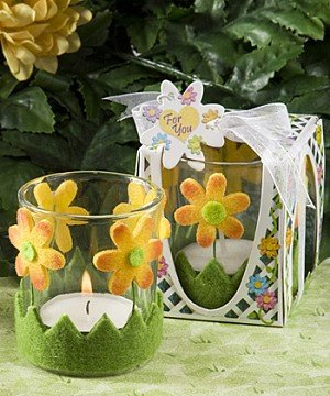 Cheery Floral Design Candle Holder Favors by Fashioncraft