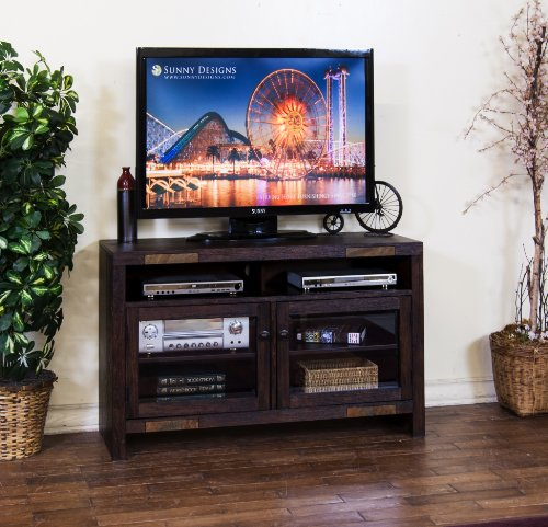 Sunny Designs Walnut Creek Tv Console, 48-Inch, Dark Walnut Weathered Finish