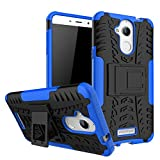 #2: Kaira Hard Armor Hybrid Rubber Bumper Flip Stand Rugged Back Case Cover for Coolpad Note 5 (Blue)