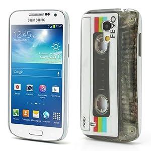 Perfect Case ® PREMIUM Hard Case im Retro Tape Kassetten transparent Design für Samsung Galaxy S4 Mini i9195 Smartphone / HKT® i9195