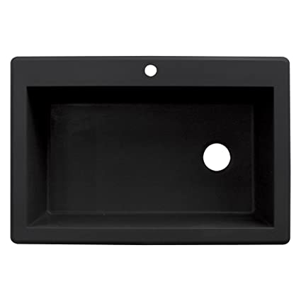 Transolid RTSS3322-09 Radius 22-in W x 33-in L Granite Single Drop-in Kitchen Sink, Black