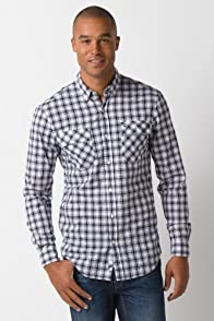 Long Button Down Sleeve Check 2 Pocket Roll Sleeve Woven Shirt