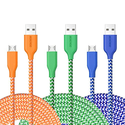 Micro USB Cable, 10ft 3Pack Extra Long Tangle-free Nylon Braided Micro USB 2.0 Charging Cable Cord by Boxeroo for Samsung, HTC, LG, Sony, Smart Phones, Tablets, MP3 Players and More (Long Micro Usb Charger compare prices)