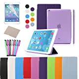 BESDATA Ultra Thin Magnetic Smart Cover & Clear Back Case for Apple iPad + Screen Protector + Stylus + Cleaning Cloth (Purple, Pad Air (5th Gen))