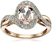 14k Rose Gold Morganite and Diamond (1/6cttw, H-I Color, I2-I3 Clarity) Oval Ring, Size 7