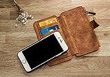 OFTEN iphone6 6s 高級レザーケースカバー 両用型 脱着式 分離可能 耐衝撃 防塵フル 財布型 手帳型 ポケット、カード機能付きレザーケース(ブラウン)