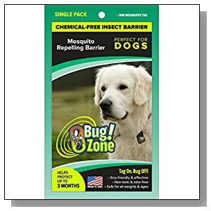 0Bug!Zone 1 Piece Mosquito Barrier Tag for Dogs