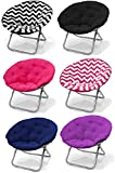 Large Hot Pink Microsuede Folding Saucer Moon Chair - Lightweight Construction & Oversized Comfy Padded Cushion. Multiple Vibrant Colors & Chevron Prints - Coordinates with Both Childrens and Adults Furniture. 100% Satisfaction Guaranteed - Order with Con