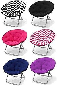 large purple microsuede folding saucer moon chair lightweight construction. Black Bedroom Furniture Sets. Home Design Ideas