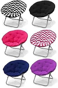 large black chevron microsuede folding saucer moon chair lightweight construction. Black Bedroom Furniture Sets. Home Design Ideas