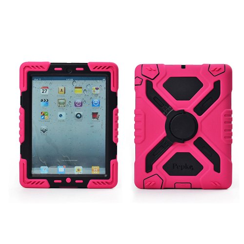 Hot Newest Ipad 2/3/4 Case Silicone Plastic Kid Proof Extreme Duty Dual Protective Back Cover With Kickstand And Sticker For Ipad 4/3/2 - Rainproof Sandproof Dust-Proof Shockproof (Pink/Black)