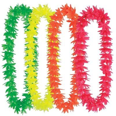 Silk 'N Petals Neon Lotus Leis (asstd colors) Party Accessory  (1 count)