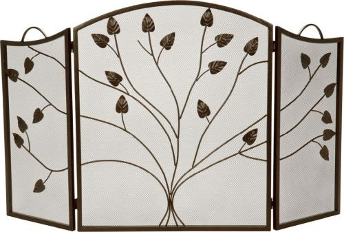 Bronze 3 Fold Arched Panel Screen with Leaf Design - 31 inch (Fireplace Screen Leaves compare prices)