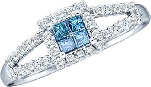 14k White Gold Ring 0.33 ct Blue Princess Cut Diamonds Center and Round White Diamond Set in Double Bands - Incl. ClassicDiamondHouse Free Gift Box & Cleaning Cloth