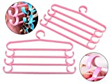HOKIPO 2 Pieces 4-Bar Trouser Saree Clothing Hangers with Accessory Hooks (Pink)