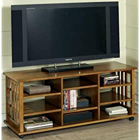 Mssn Tall Wide-screen Tv Cart 9 Shelves Honey