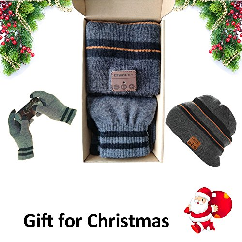 CFZC Bluetooth4.2 Beanie Hat Cap Wireless Bluetooth Headphone Headset Earphone soft warm with stereo speaker hands-free for man and woman outdoor sports gift (package include a set gloves)