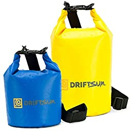 Driftsun 10L Waterproof Heavy Duty Dry Bag Set with Shoulder Strap Dry Bag Sack, Waterproof Floating Dry Gear Bags for Boating, Kayaking, Fishing, Rafting, Swimming, Camping, Canoeing and Snowboarding with Free Bonus 5L Bag