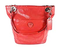 Hot Sale Coach Alex Signature Stitch Patent Leather Tote Handbag 14265 Coral Purse