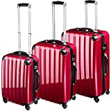TecTake policarbonato trolley valigia valigie set rigido borsa rosso vino