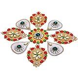 Decoration Craft Acrylic Rangoli - (28.5 Cm X 28.5 Cm, Red & Green)
