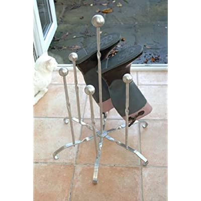 Stainless Steel Silver Welly Boot Stand - Metal Wellington Rack for 3 Pairs