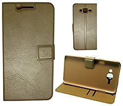 MACC Business Premium Faux Leather Flip Case Flip Cover for Samsung Galaxy J7 - with Stand Magnetic Lock Card & Currency Wallet - GOLD