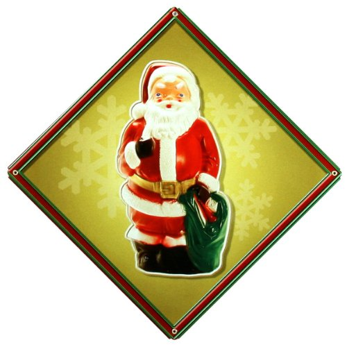 Vintage Santa Christmas Sign in Yellow