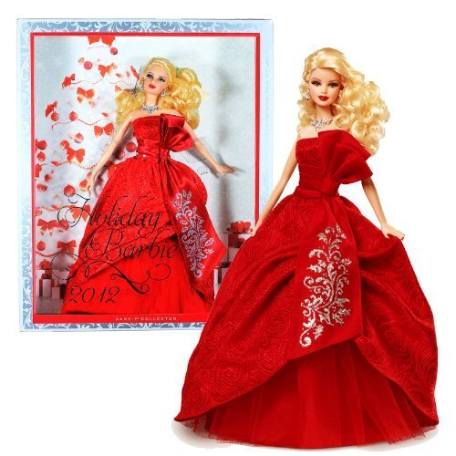 Mattel-Barbie-Collector-Holiday-Series-12-Inch-Doll-Holiday-Barbie-2012-in-Exuberant-Red-Gown-of-Satin-Jacquard-and-Tulle-Plus-Silvery-Earrings-and-Necklace-Caucasian-Version-W3465-by-Mattel