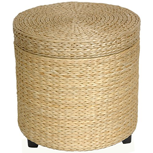 Oriental Furniture Rush Grass Storage Footstool - Natural (Japanese Low Table compare prices)