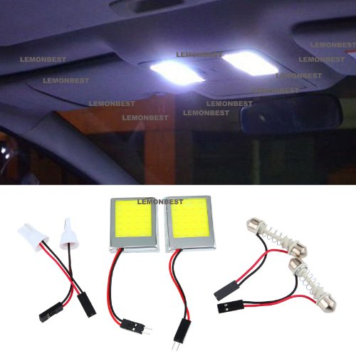 Lemonbest Pack Of 2 New Vehicle Energy-Saving White Cob Led Dome Roof Lamp Car Interior Plate Cob Led Light For Car Lighting Square Shaped