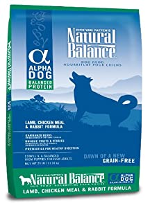 Natural Balance Alpha Grain-Free Lamb, Chicken Meal, and Rabbit Formula for Dogs, 25-Pound Bag