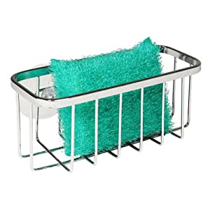 InterDesign Gia Kitchen Sink Suction Sponge and Scouring Pad Holder, Stainless Steel