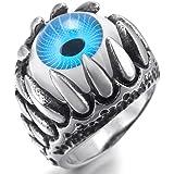 Men's Stainless Steel Ring Silver Black Blue White Skull Dragon Claw Evil Devil Eye Gothic Biker
