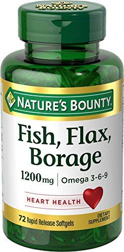 Nature's Bounty Fish, Flax, Borage 1200 mg Omega 3-6-9, 72 Softgels (Flax Omega 3 Supplements compare prices)