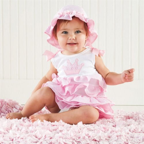Mud Pie Baby Little Princess Pink and White Cotton Tiered Dress with Ruffles, Crown, 0 - 6 Months