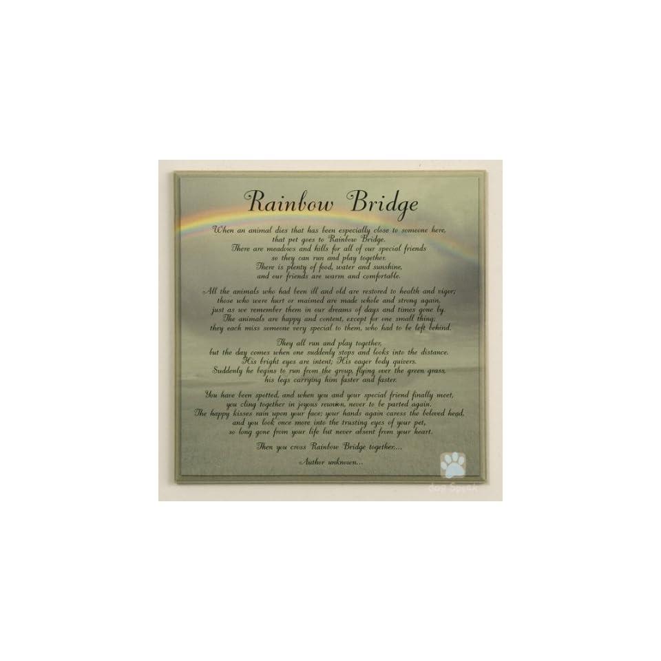 RAINBOW BRIDGE Pet Memorial Wall Decor Poem Saying Bereavement Sign 10X10 Wooden