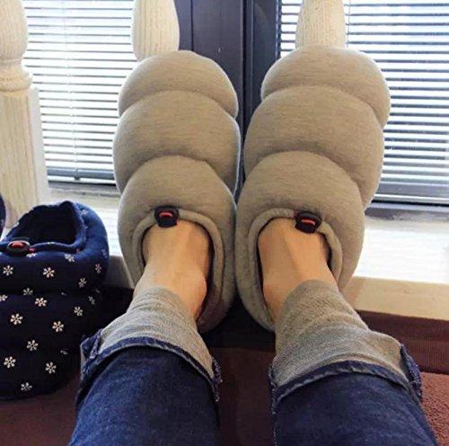 ZHLONG Pantofole di cotone casual maschile all'interno per mantenere caldo in autunnali e invernali Pantofole , gray , medium