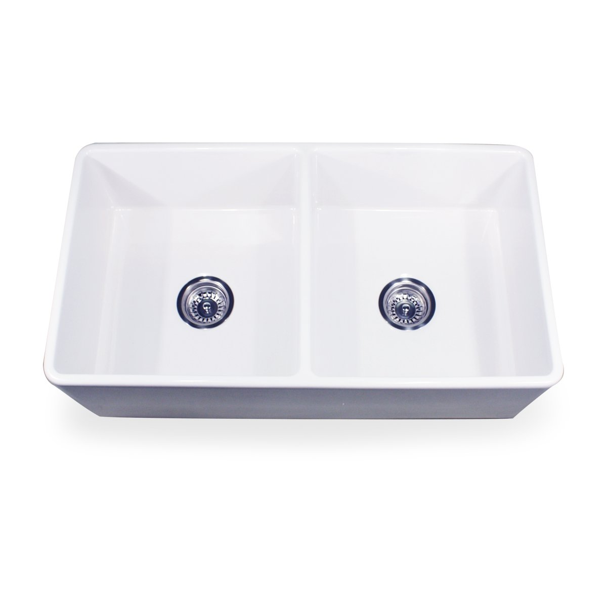 Farmhouse Sink 33 Inch White : ... -33-DBL 33-Inch Double Equal Fireclay Farmhouse Kitchen Sink, White