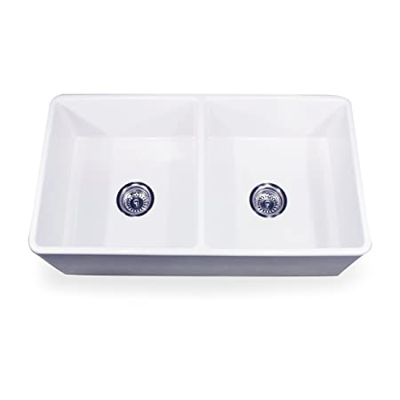 Nantucket Sinks T-FCFS-33-DBL 33-Inch Double Equal Fireclay Farmhouse Kitchen Sink, White