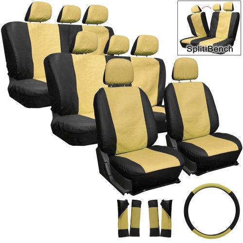 Oxgord Leatherette Seat Cover Set For Kia Mini Passenger Vans, Airbag Compatible, Split Bench, Tan & Black front-916788