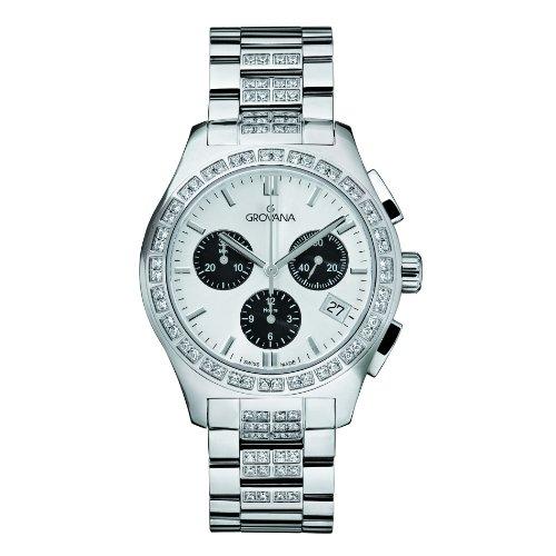 Grovana 5096,9732 - Reloj cronógrafo de cuarzo para mujer, correa de acero inoxidable chapado color plateado