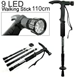 NowAdvisor® Hammer AntiShock Trekking Hiking Walking Stick Pole LED