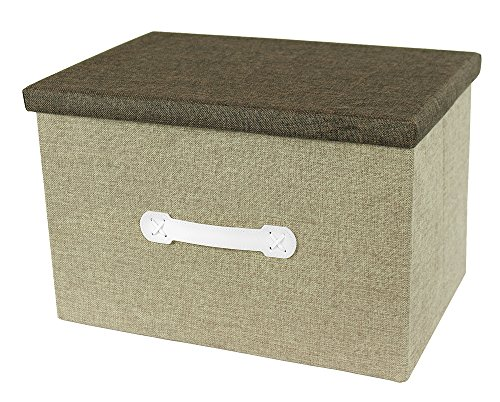 Decorative Jumbo Craft Storage Box - Archival Portable Natural Jute Container - Closet Box - 18 x 12 x 12 inches - Shades May Vary