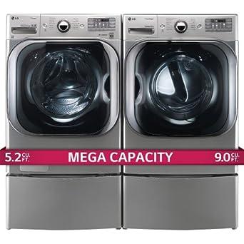 LG Titan Laundry Pair - MEGA CAPACITY - *Graphite Steel* Washer, GAS Dryer and Pedestal Package! WM8000HVA, DLGX8001V WDP5V (2)