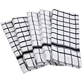 DII 100% Cotton, Machine Washable, Everyday Kitchen Basic Deluxe Windowpane Terry Towel Set of 4, Black