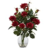 Nearly Natural 1281-RD Rose Bush with Vase Silk Flower Arrangement, Red