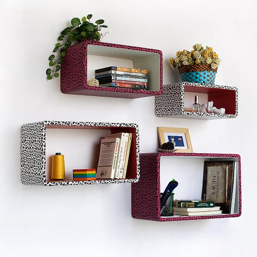 Trista - [Crimson White Panther] Rectangle Leather Wall Shelf / Bookshelf / Floating Shelf(Set of 4)