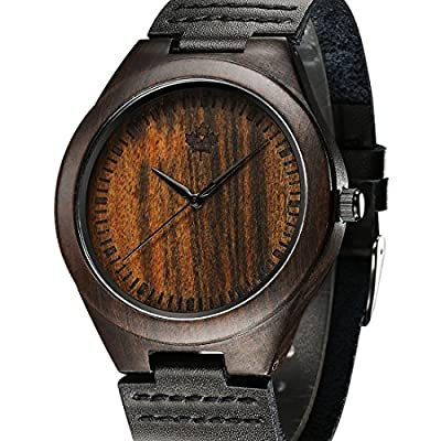Tamlee Genuine Leather Men's Wooden Quartz Watch -Black Sandalwood