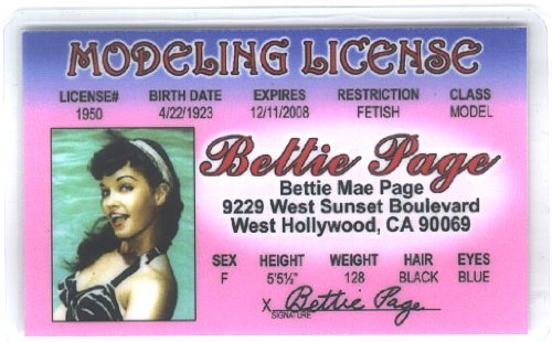 Betty Page Fun Fake ID License - 1